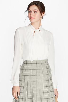 Brooks Brothers Kadın Beyaz Kurdeleli Gömlek