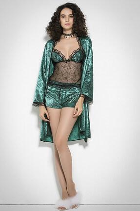 Mite Love Kadın Yeşil Saten İp Askılı Şort Ve Sabahlıklı 3 Lü Takım