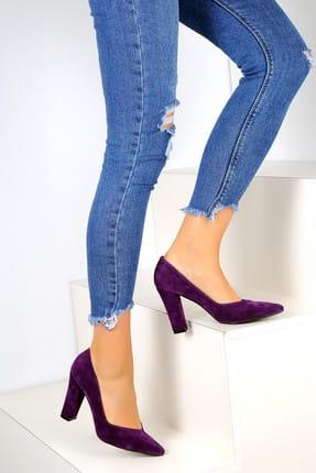 Pembe Potin Mor Süet Kadın Topuklu Ayakkabı A2030-18