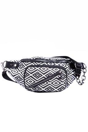 Housebags Beyaz Çizgili Kadın Bel Çantası 149