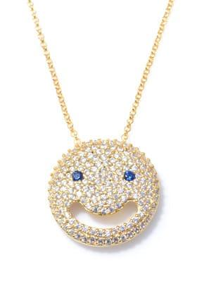 Nusret Takı Kadın 925 Ayar Gümüş Gülen Yüz Kolye, Sarı - Beyaz Mavi Taş TWHYL546