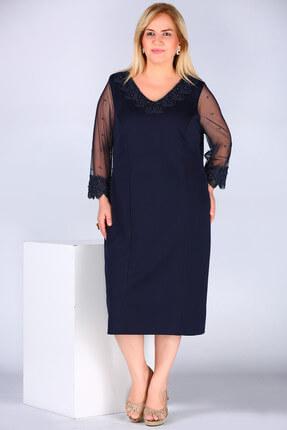Nesrinden Kadın İnci İşlemeli Lacivert Elbise ELB000139112
