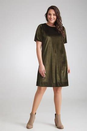 Seamoda Kadın Kadife Düz Elbise-Yeşil-Bb PRA-236266-794586