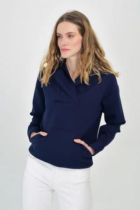 Hanna's Kadın Lacivert Kapşon Detaylı Önden Cepli SweaT-Shirt Hn365
