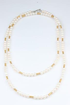 Nusret Takı Kadın 925 Ayar Gümüş Çift Sıra İnci Kolye TWGKL314