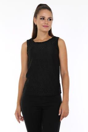 Patiska Kadın Siyah Dantelli Örme Kolsuz Bluz 1116249