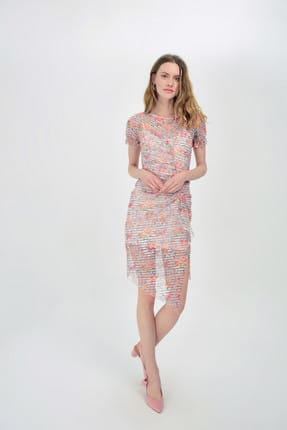 Hanna's Kadın Somon Dantel Detaylı Kolları Büzgülü Elbise Hn1495