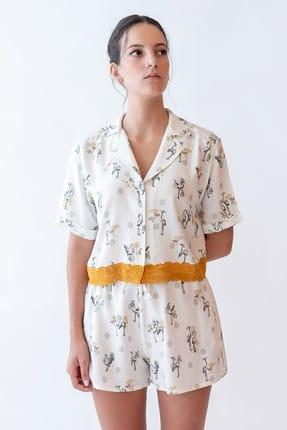 Hays Kadın Yeşil Baskılı Dantel Detaylı Kısa Kollu Önden Düğmeli Dokuma Pijama Üstü