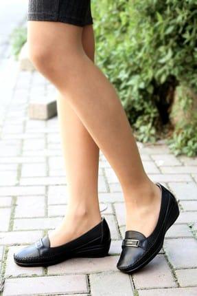 Fast Step Kadın Siyah Hakiki Deri Ortopedik  Ayakkabı