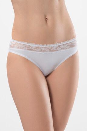 TÜREN Kadın Beyaz-Beyaz 2'Li Likralı Dantelli Bikini