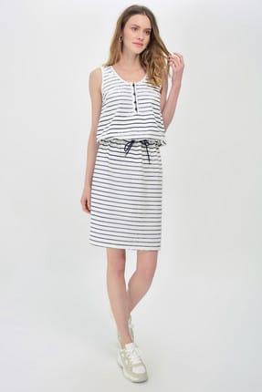 Hanna's Kadın Beyaz-Lacivert Çizgili Kolsuz  Önden Süs Düğmeli Bel Büzgülü Elbise Hn924