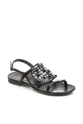 Derimod Hakiki Deri Siyah Kadın Sandalet