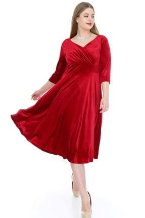 ANGELINO Kadın Kırmızı Kadife Esnek Elbise KL8003