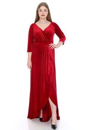 ANGELINO Kadın Kırmızı Kadife Uzun Abiye Elbise KL56