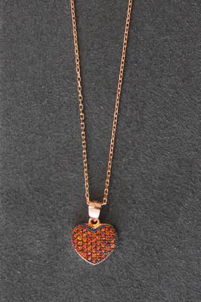 Bella Gloria Kadın Turuncu Kalp Rose Gümüş Kolye TGK0282