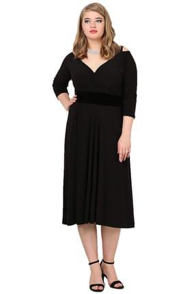 ANGELINO Kadın Siyah Omuz Askılı Abiye Elbise KL7005