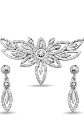 Argentum Concept Kadın Zirkon Taşlı Gümüş Çiçek Set S012002