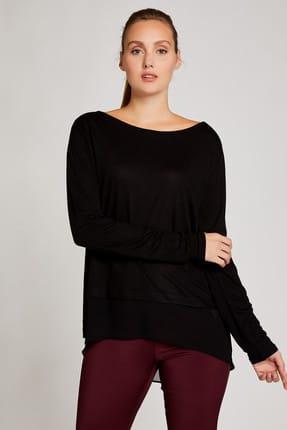 Vekem Kadın Siyah Şifon Detaylı Yünlü Basic Bluz 8207-0211