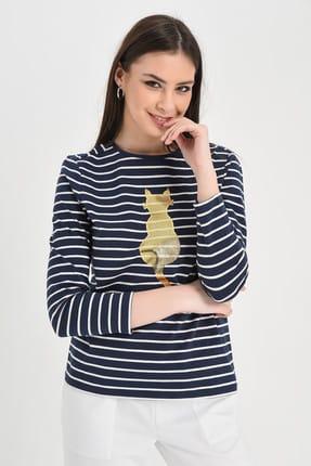 Hanna's Kadın Lacivert-Beyaz Lacivert-Beyaz Çizgili Uzun Kollu Kedi Baskılı Bluz Hn1294