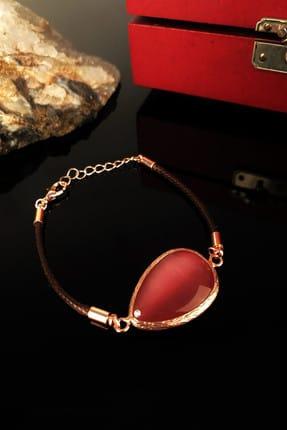 DR Stone Kadın Kedigözü Taşı Rose Altın Kaplama Bileklik KRB299