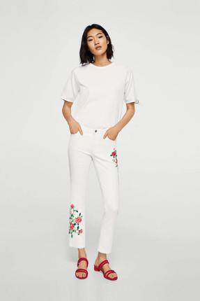 Mango Kadın Beyaz Düz Kesim Kısa Paçalı Ve İşlemeli Jean Pantolon 23005632