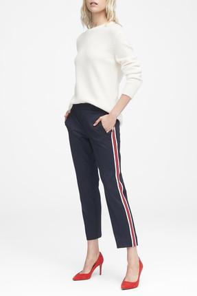 Banana Republic Kadın Lacivert Avery Straight-Fit Yanları Çizgili Bilek Hizasında Pantolon 396269