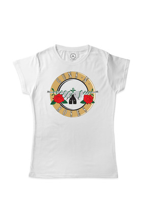 Art T-shirt Kadın Beyaz Guns N Roses Logo T-Shirt ART00245MK