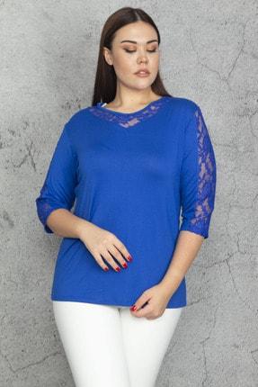 Şans Kadın Saks Dantel Detaylı Bluz 65N22959