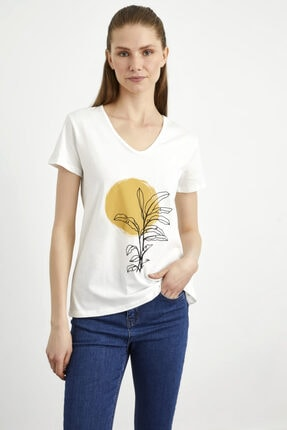 adL Kadın Kemik Baskılı V Yaka  Tshirt