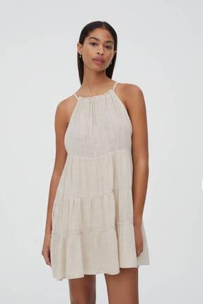 Pull & Bear Volanlı Halter Yaka Mini Elbise