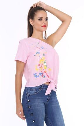 Patiska Kadın Pembe Tek Omuzlu Önü Bağlamalı Desenli Bluz 990878