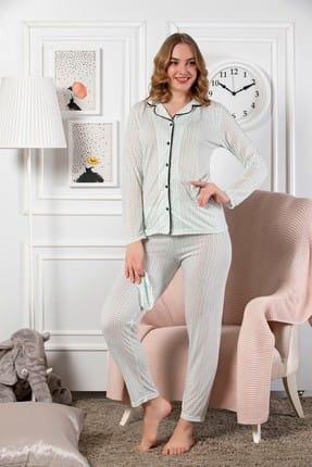 Elitol Kadın Yeşil Ultra Lüks Önden Düğmeli Uzun Kol Pijama Takım