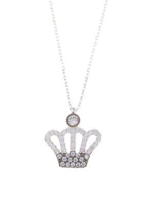 Dalmarkt Kadın 925 Ayar Gümüş Kral Tacı Figürlü Taşlı Kolye ADFRTW571