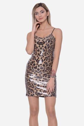 İroni Kadın Payetli Leopar Mini Elbise 5229-1282