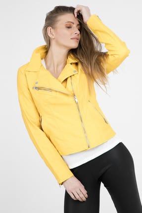 Only Kadın Sarı Deri Ceket 15167865