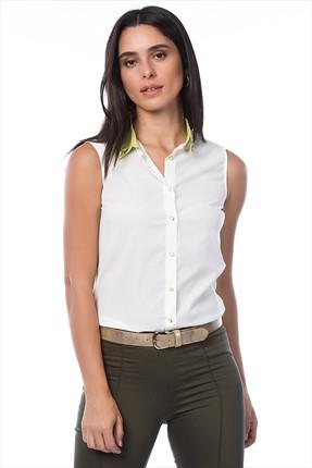 Cotton Mood Kadın Ekru Yakası Taşlı Kolsuz Gömlek 381646