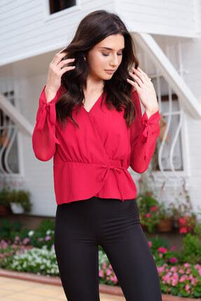 İroni Kadın Kırmızı Kruvaze Yan Bağcıklı Bluz 3969-308