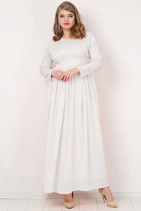 ANGELINO Kadın Beyaz Şifon Likralı Uzun Abiye Elbise KL4009T