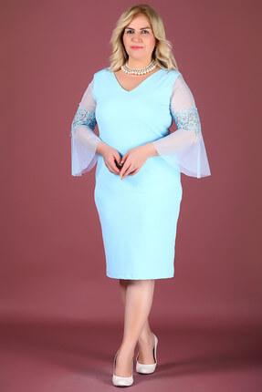 Nesrinden Kadın Tül Detay Mavi Elbise ELB000128061