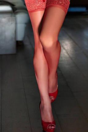 Mite Love Kırmızı Düz Silikonlu Dantelli Jartiyer Çorap