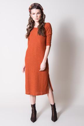 Bsl Kadın Kiremit Yırtmaçlı Uzun Triko Elbise 12846