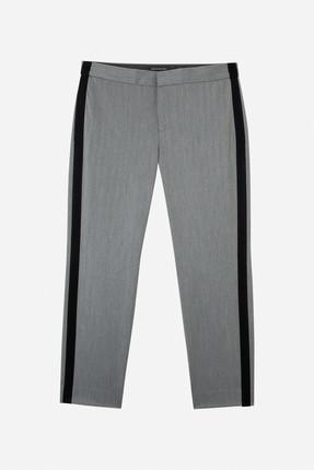 Banana Republic Kadın Gri Avery Straight-Fit Çizgili Pantolon 366781