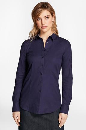 Brooks Brothers Kadın Lacivert Logo Detaylı Çizgili Gömlek