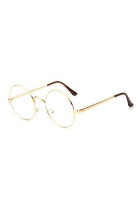 Hane14 Kadın Yuvarlak Güneş Gözlügü 5612 Just Şeffaf Camlı Retro Gözlük Gold (4,5cm çap)