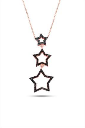Bella Gloria Kadın Üç Yıldız Rose 925 Ayar Gümüş Kolye GK00354