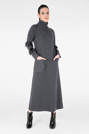 TREND Kadın Gri Elbise 4784108