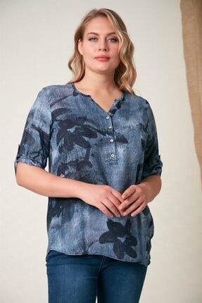Rmg Kadın İndigo Çiçek Desenli Saf Pamuk Bluz