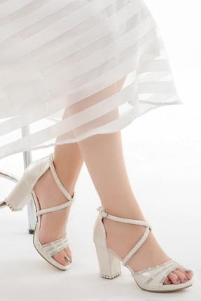 Ayakland Kadın Gri Topuk Taşlı Gelin Abiye Ayakkabı