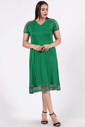 Womenice Kadın Yeşil Omzu Eteği File Desenli Büyük Beden Elbise