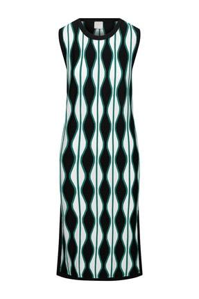 W Collection Kadın Retro Desenli Kolsuz Yırtmaçlı Triko Elbise